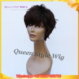 Descuento cortes de pelo rizado corto para las mujeres Nuevas mujeres afroamericanas Peluca de peinado sintética Blaco sintético o peluca de color marrón oscuro, Pixie Cortar pelo corto Pelucas completas para peruca masculina