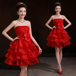 Organza Short Bridesmaid Dress With Ruffles Red 2016 Knee Length Ball Gown Dress For Party Fast Shipping