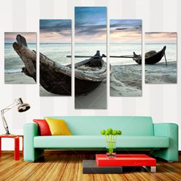 5 Panel Modern Prints Beach Seascape Painting Sea Boat Sunset Painting Cuadros Wall Picture For Living Room(No Frame) PR1038