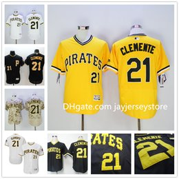 Wholesale Roberto Clemente Jersey Flexbase New Cooperstown Yellow Camo White Black Grey Pittsburgh Pirates Jerseys Baseball Stitched