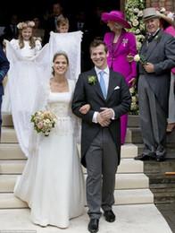 Wholesale 2016 seven sleeve dress beaded fringe waist wedding dress lace applique wedding dress court train