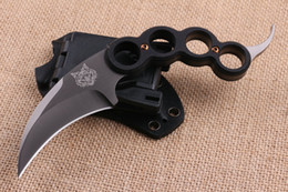 Wholesale Top Quality Tiger Head Karambit CR18MOV Titanium blade steel G10 Handle Knuckle Claw knife Fixed blade knives with ABS K Sheath