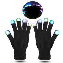 Wholesale NEWEST Hallowmas led gloves Flash Color changing LED Glove Rave light led finger light gloves light up glove For Party favor music concert