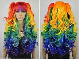 Wholesale gt Animated multicolor cosplay wigs separate two clip ponytail long wavy style Wigs