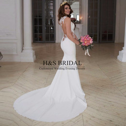 Sexy See Through Sheer Back Lace Wedding Dress Mermaid Wedding Dresses Satin Wedding Gowns 2016 Custom Made With Button Bridal Dress