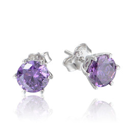 Wholesale Sterling Silver Swarovski Purple Crystal Stud Earrings For Women Christmas Valentine s Day Gift No50 lw ER1032C