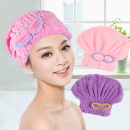 Acheter en ligne Cheveux amicaux-Womens Girls Lady's Magic Quick Dry Bath Hair Drying Towel Head Wrap Hat Maquillage cosmétiques Cap Bathing Tool