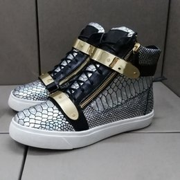 Wholesale DHL new new sneakers silver scales lines high help shoes fashion shoes metal copper high leather boots
