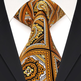 Wholesale F17 Yellow Black White Orange Checked Floral Mens Ties Neckties 100% Silk Jacquard Woven Classy