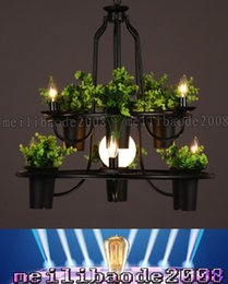 Wholesale PL21XY Personality Arts Lamp LOFT American Retro Iron Pots Candlestick Chandelier Living Room Showcase Balcony Bar Pendant Lights