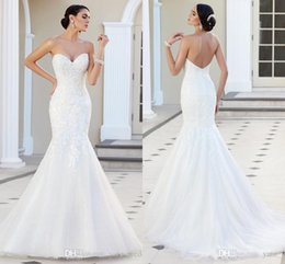 2019 Modest Lace Mermaid Wedding Dresses Sweetheart Strapless Appliques Tulle Backless Wedding Gowns Cheap Beach Church Bridal Dresses