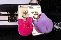 Anillo de metal espejo en Línea-Para la caja pendiente de la bola de la piel del arco de la borla de la cuerda del anillo del metal de la contraportada de S7 Bling del espejo TPU para Iphone 5s 6 6S más DHL