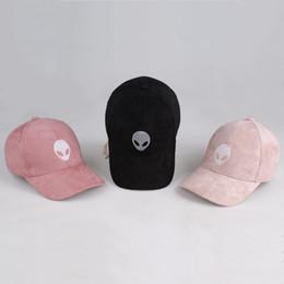Wholesale 2016 Alien Embroidery Baseball Cap For Men Women Hip Hop Hat Men Women E T UFO fans Black Suede Fabric Snapback Ball Cap Hat Newest Autumn