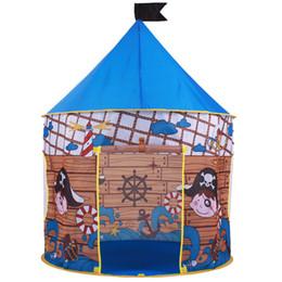2016 bebé pirata CastleTent bebé de juguete Juego Game House, princesa niños Príncipe Castillo de interior al aire libre Juguetes regalos de cumpleaños tiendas de campaña tent house kid on sale desde cabrito casa tienda de campaña proveedores
