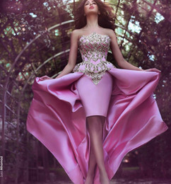 Sexy Strapless High Low Evening Dresses Chic Appliques Backless Short Sheath Sweep Train Dresses Prom Gowns Cocktail Dresses