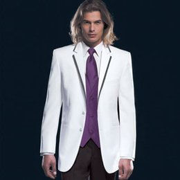 Wholesale New arrival affordable Best Man Groomsmen White Groom Tuxedos Lapel Men Wedding Suits Bridegroom