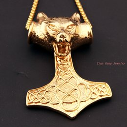 Gold Plated Necklaces Pendants Stainless Steel Box Chain Pendant Necklace spike Cool men fashion personalized wolf Necklaces