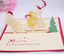 10pcs Santa Claus Sled Handmade Kirigami Origami 3D Pop UP Greeting Cards Invitation Postcard For Birthday Christmas Party Gift