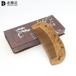 Wholesale 100 pure natural green sandalwood comb manufacturers antic static comb head massage health care comb Dragon and Phoenix