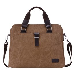 Wholesale New Male Briefcases Big Business Men Messenger Bags Canvas Women s Handbags Travel Cross Body Bags Men Shoulder Bags Black dark khaki and br