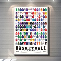 Wholesale All Kinds of Basketball Jersey Vintage Poster Home Decor Paper Art Painting Picture Garage Cafe Pub Bar Decoration Retro Wall sticker