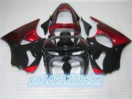 Motos sportives carénage en Ligne-Accessoires moto Pièces ZX 6R Carénage Sport Ninja ZX6R 1998-1999 Rouge Noir Sport Bike Moto Carénages