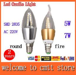 Promotion les types d'incendie x10 livraison gratuite 5W LED 7W Candle light E14 / E27 SMD 2835 Led ronde lampe AC220V / type de feu angle 360 du faisceau 2 ans de garantie