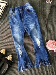 Wholesale Fashion Kids Girls Denim Tassel Jeans Baby Girl Autumn Hallow Out Pants Babies Wash Blue Korean Jean children s christmas clothing