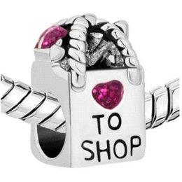New beads free shipping. Shopping bag charm bracelet beads. fit Pandora charm bracelet jewelry bag repair