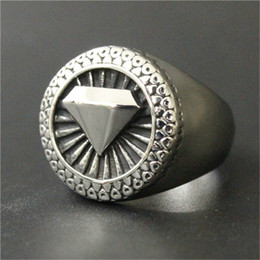 2pcs lot size 7-13 Diamond Shape Cool Ring 316L Stainless Steel Fashion Jewelry Personal Design Ring