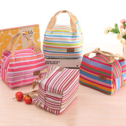 Thermal Insulated Portable Cool Canvas Stripe Lunch Totes Bag Carry Case Picnic ice bags zipper lunch bag
