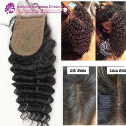 Silk base deep wave lace closure 4*4inch human hair closure silk base closure 10-20inch free middle 3part