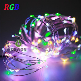 Wholesale Led Lamp Wire - 2m 20LED 5m 50led string light outdoor for Christmas Fairy Lights Copper Wire lamp Starry Light with 3AAA Battery power