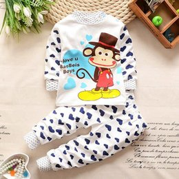 Kids pajamas and pant sets pure cotton boys and girls cartoon long sleeve t-shirt and pant sets 2 colors 2016 autumn clothing.