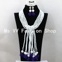 2018 Luxury white royal blue Long Necklace Set Crystal Balls Pendant african beads Women Jewelry Set 2016 New Free Shipping