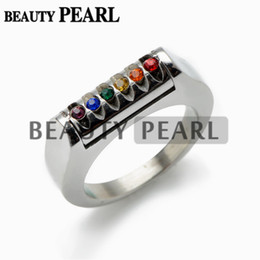 Stainless Steel Multicolor CZ Stone Rainbow Ring for Unisex Gay and Lesbian LGBT Pride Engagement Wedding Rings