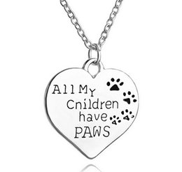 New Fashion Animal Jewelry All My Children Have Paws Heart Animal Dogs Pendant Women Necklace Silver Plating Hot selling