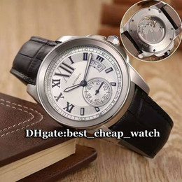 Wholesale Cheapest Silver Watch - Hot Sell Luxury Brand Watch New Calibre de W7100037 Automatic Mechanical Gent Watch 43mm White Dial Leather Strap Cheap Mens Watches CAR4