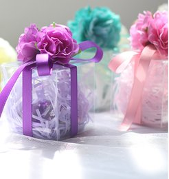 Wholesale Clear Wedding Favour Box - 30pcs lot Baby Shower Clear Color Ribbon Favour Gift Candy Boxes Wedding Favors and Gifts for Wedding