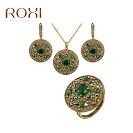 Wholesale 2016 Top Sale Vintage Jewelry Set Antique Gold Plate AAA Zircon Earring Ring Necklace Jewelry Set Choose Size of Ring