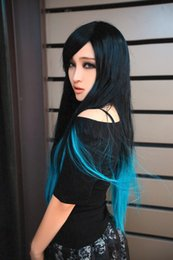 Ombre 2 Colors Women Long Straight Black to Blue Natural Wigs High Tempreture Resistant Synthetic Hair Long Cosplay Wigs of Black to blue