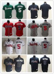 Wholesale 2016 Cheap Men Freddie Freeman Jersey Embroidery Logos Atlanta Braves Flexbase Baseball Shirt Uniform Best Quality Size M XXXL