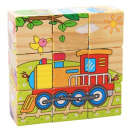Wholesale 9Pcs Set D Hexahedral Puzzle Cute Cartoon Pattern Six Sides Jigsaw Educational Toys Wooden Baby Transportation Puzzle K5BO