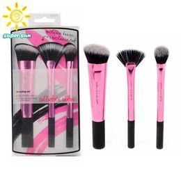 Wholesale 3Pcs Professional Beauty Real Makeup Brushes Set Techniques Make up Blending Brush Lip Eyeshadow Powder Maquiagem Cosmetic Tools