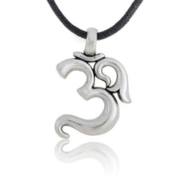 Retro Silver Yoga Aum Om Ohm Sanskrit Pendant Leather Necklace Men Jewelry, 18 inches