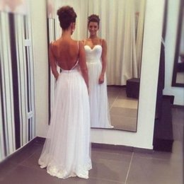 Backless Wedding Dresses Sweety Spaghetti Strap Brides Gowns 2016 Beach Wedding Dresses Chiffon Lace Appliques Dresses Z935