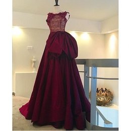 High Quality Burgundy Bateau Illusion Evening Dresses with Bow Hand Made Flowers Beaded Floor-Length A-line Cheap Prom Dresses