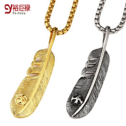 Wholesale 2016 New k gold feather Japan Takahashi Goro goro s titanium hiphop for men necklace pendant engraved retro eagle feathers