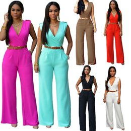 2016 Sexy Rompers Womens Jumpsuit Sleeveless V Neck Bodycon Trousers Solid Casual Playsuits Bodysuit Overalls Clubwear Night Club Rompers