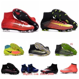 Wholesale Mens Kids Mercurial CR7 Superfly V FG Football Boots Soccer Shoes Magista Obra Orden Boys Soccer Cleats Women Children Soccer Boots Youth